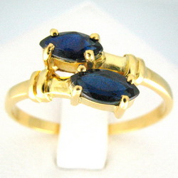71ct. Marquise Cut Blue Sapphire Ring 21k Yellow Gold